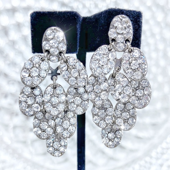 Prom Pageant Bridal Jewelry - Cascading Rhinestones Formal Prom Pageant Earrings